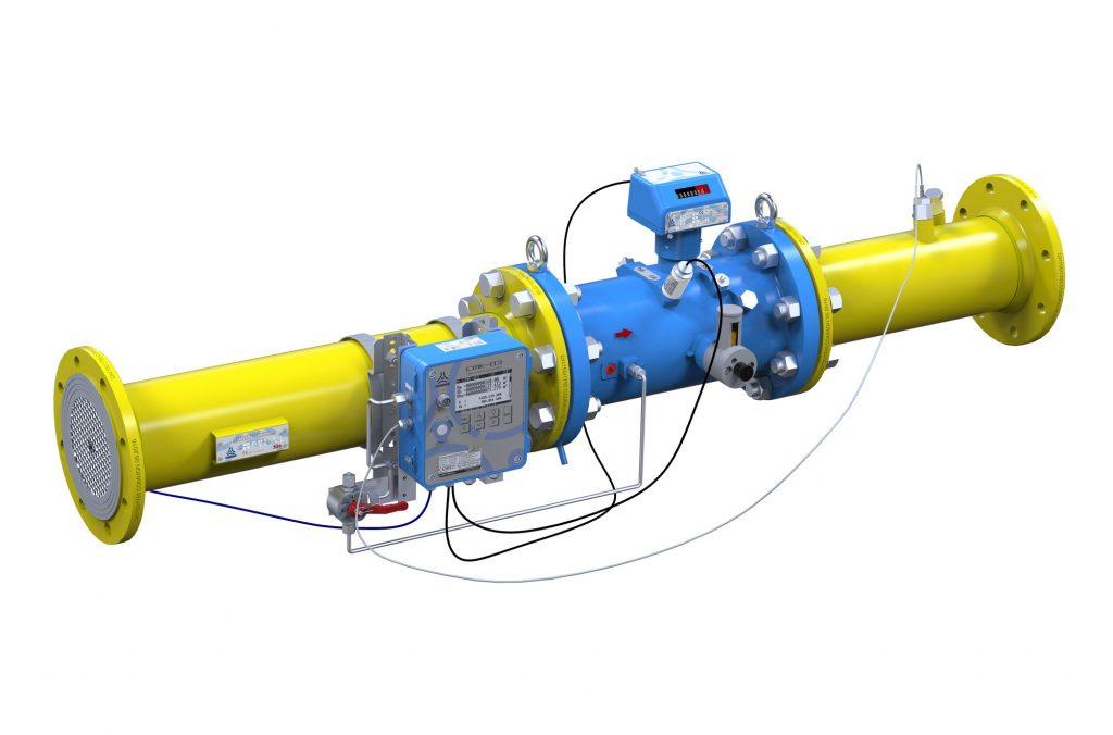 Przykład zamontowanego przelicznika CMK-03 na rurociągu w układzie poziomym z gazomierzem turbinowym CGT-02.